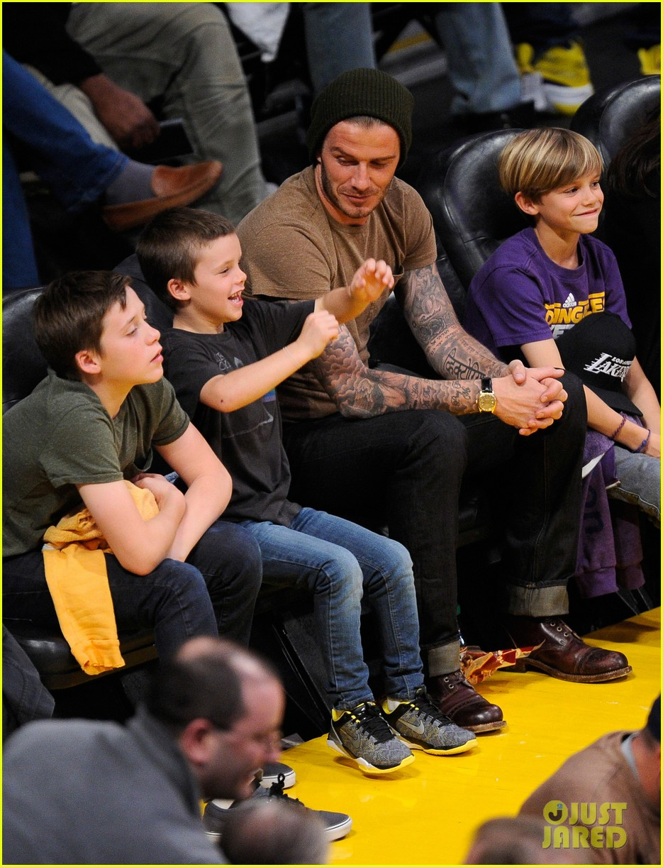 david beckham lakers game with the boys 102630415