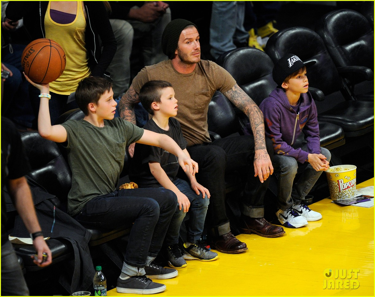 david beckham lakers game with the boys 11