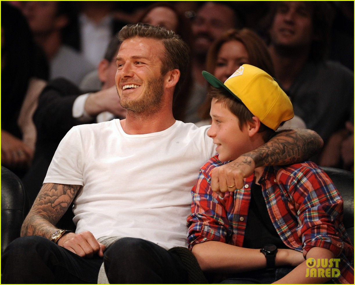 david beckham lakers game with brooklyn 012636179