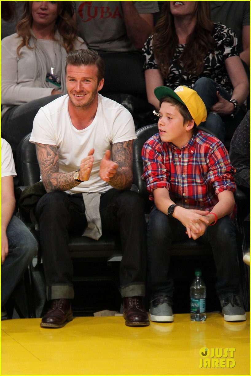 david beckham lakers game with brooklyn 022636180