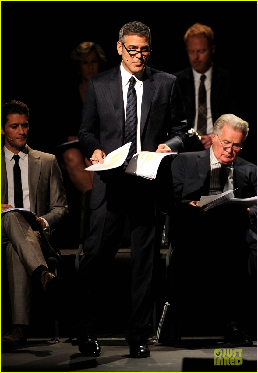 Martin Sheen, George Clooney, Matthew Morrison & Jesse Ferguson in the inaugural reading of
