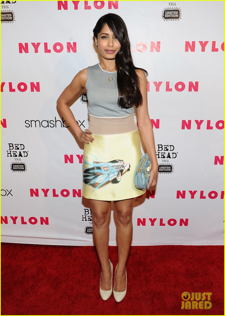 freida pinto flaming car nylon party 082647539