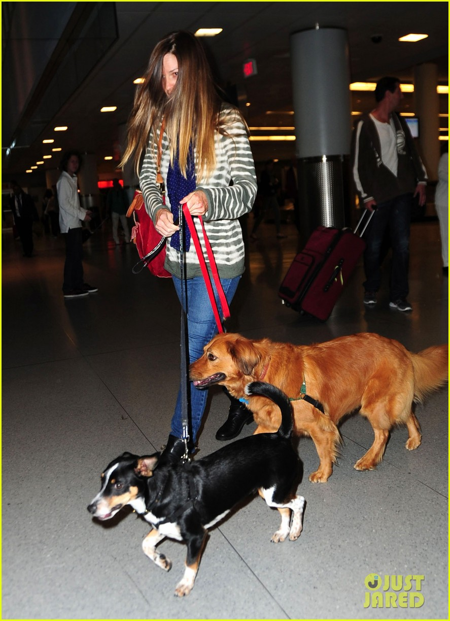 hilary swank dogs at airport 07