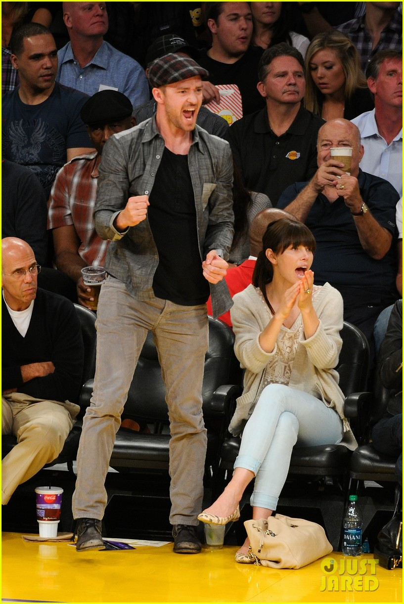 Justin Timberlake Amp Jessica Biel Lakers Lovebirds Photo