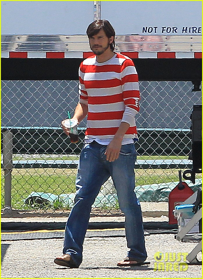 ashton kutcher stripes on jobs set 122675607