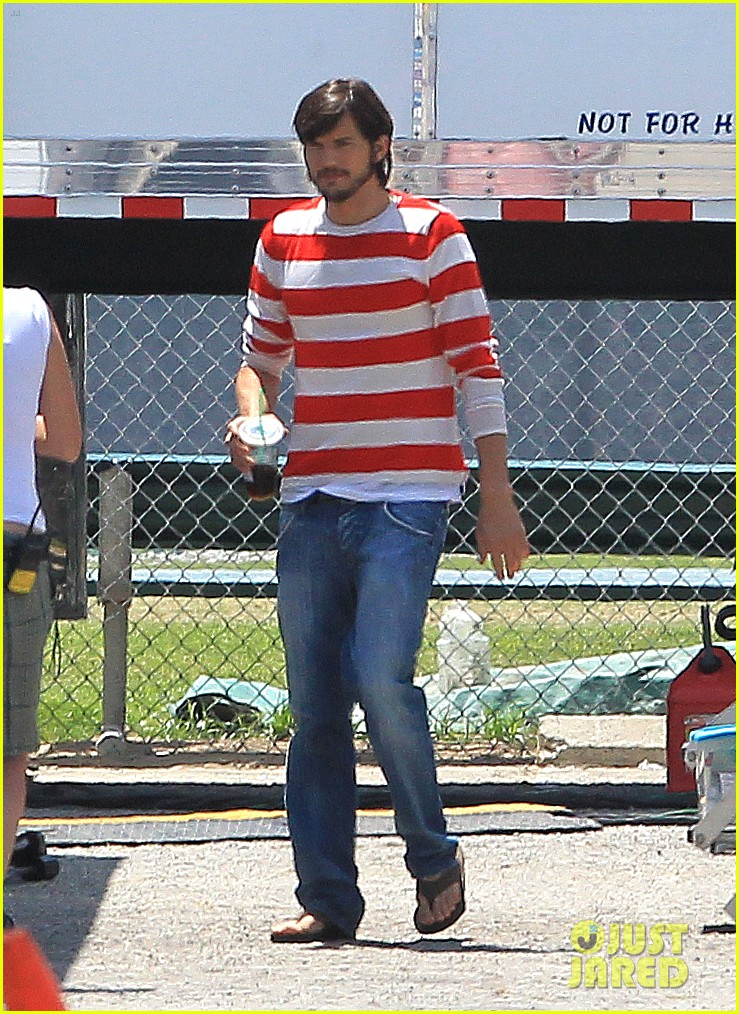 ashton kutcher stripes on jobs set 132675608