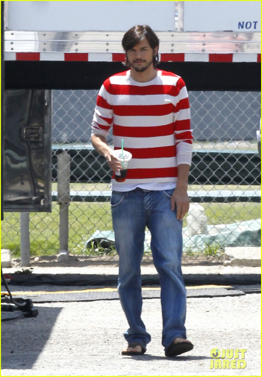 ashton kutcher stripes on jobs set 142675609