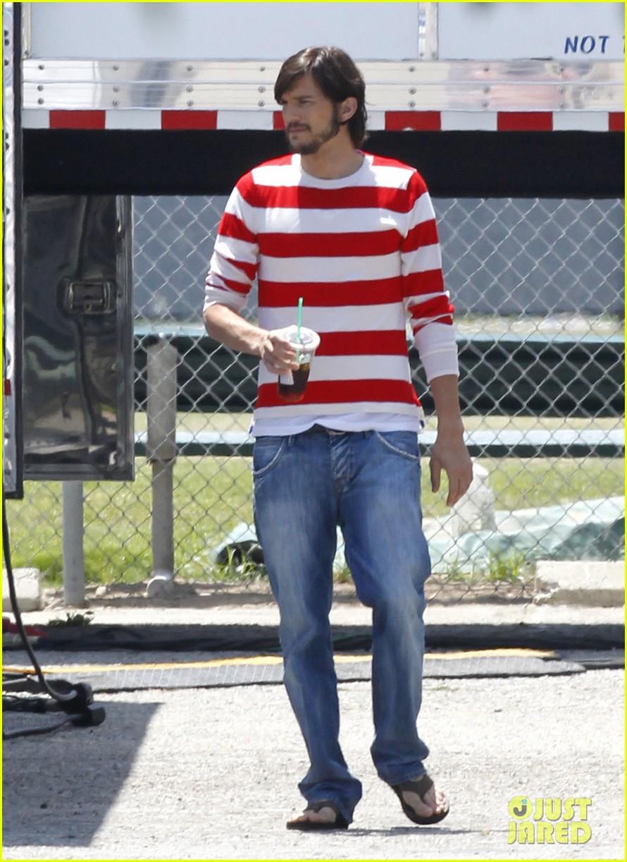 ashton kutcher stripes on jobs set 162675611