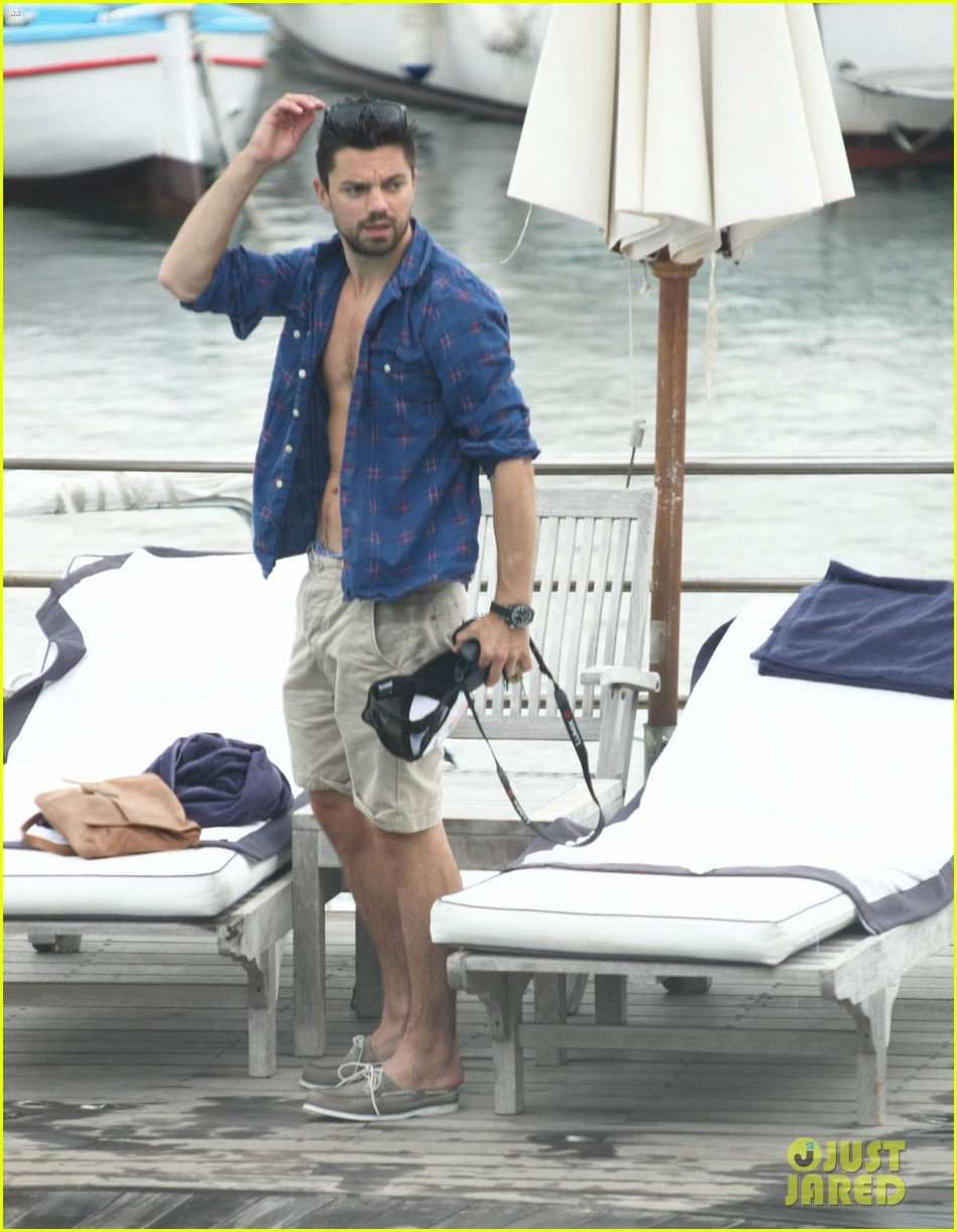 dominic cooper shirtless pda filled vacation with ruth negga 292686436