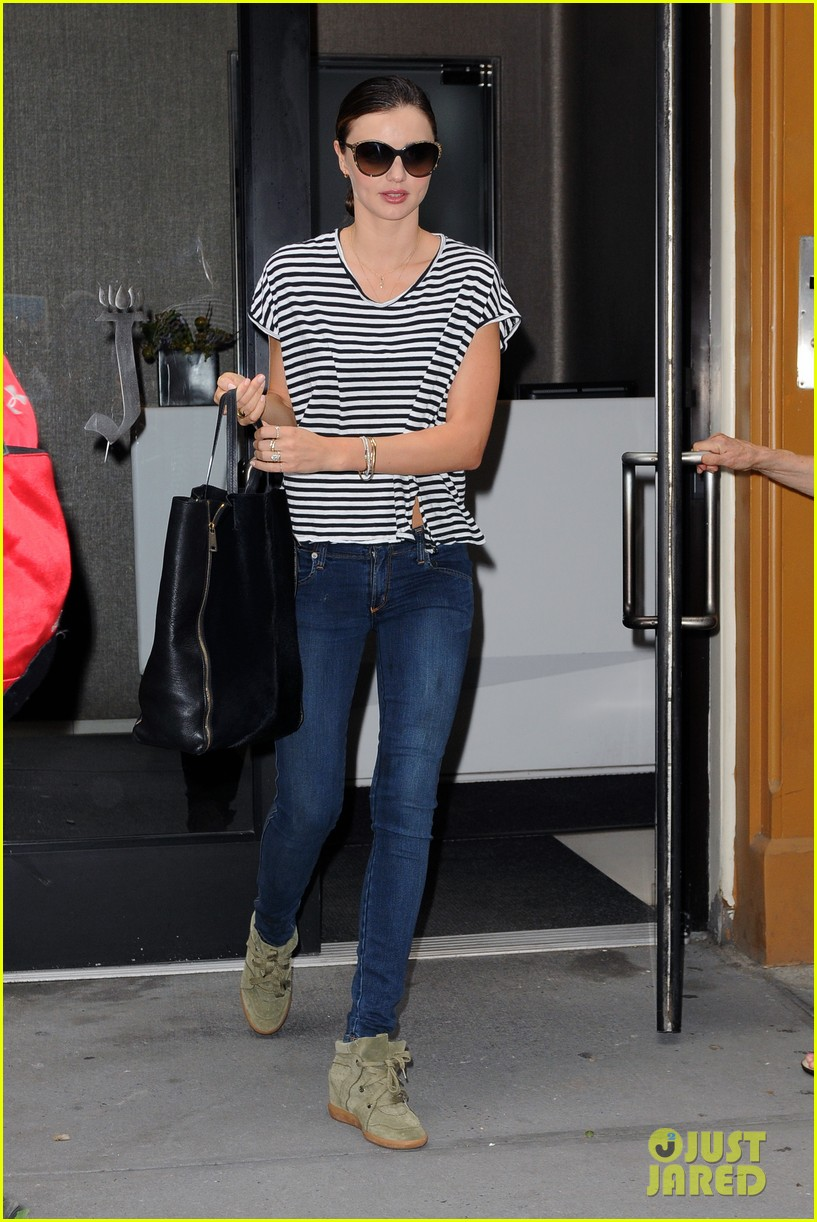 miranda kerr heads out striped shirt 01