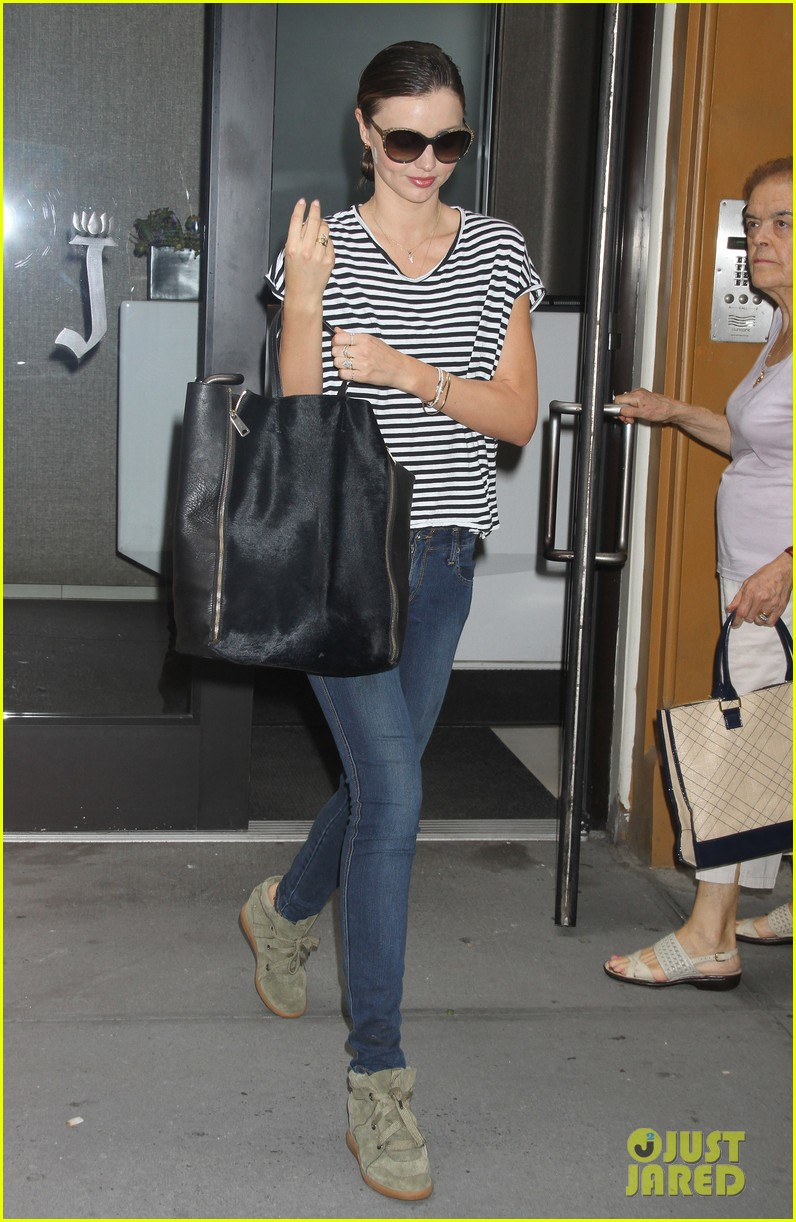miranda kerr heads out striped shirt 052689407
