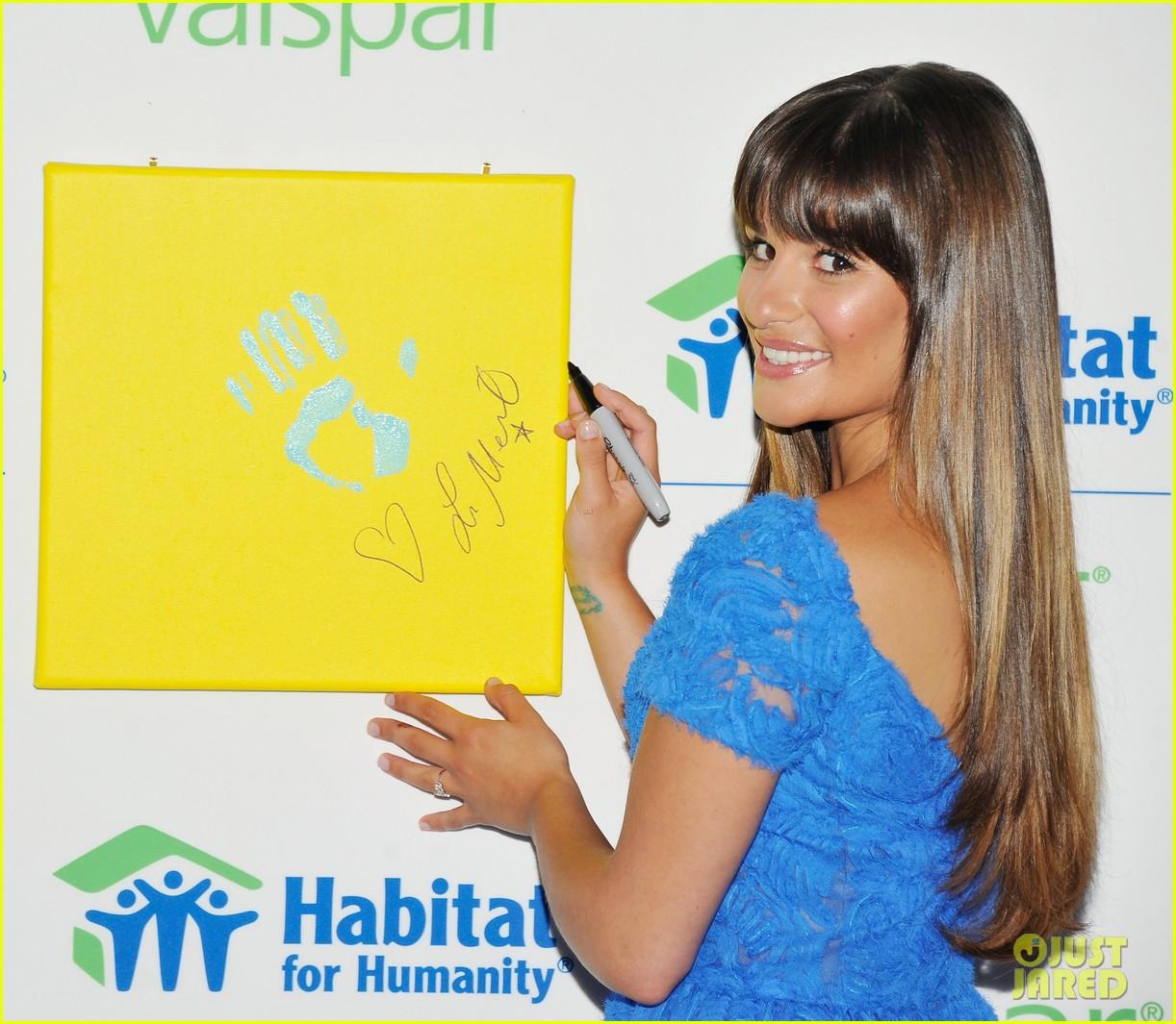 lea michele hands for habitat unveiling 012689847