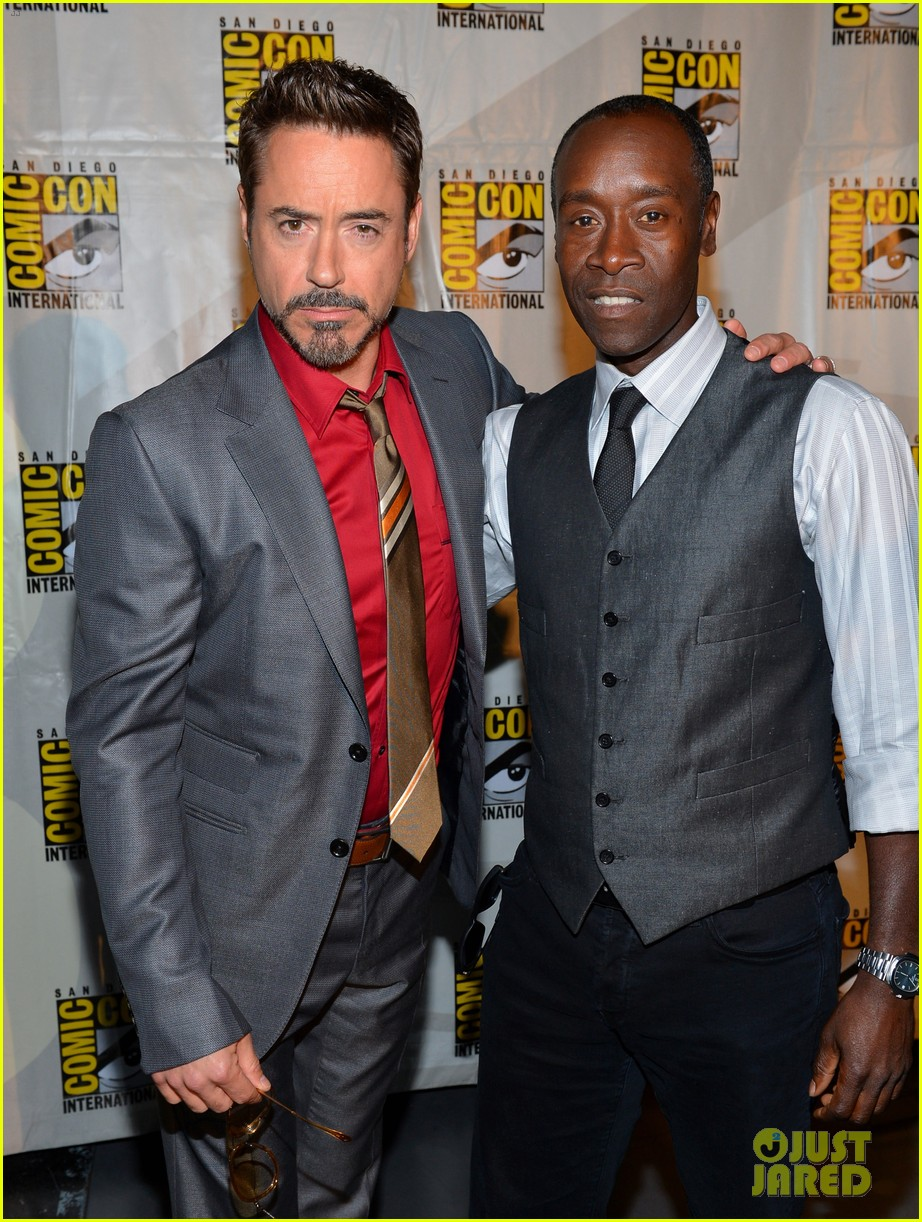 robert downey jr don cheadle marvel panel at comic con 022687610