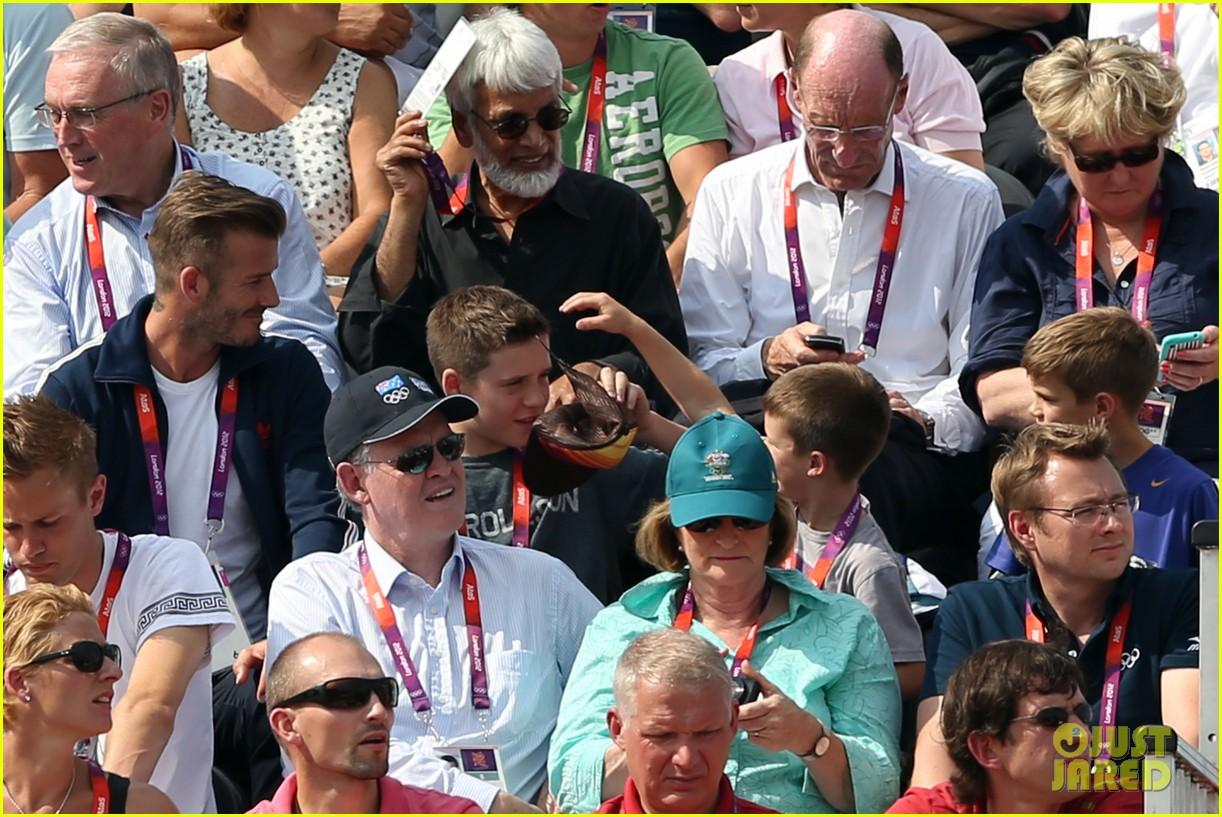 David Beckham His Boys Meet Olympics Police Guards Photo
