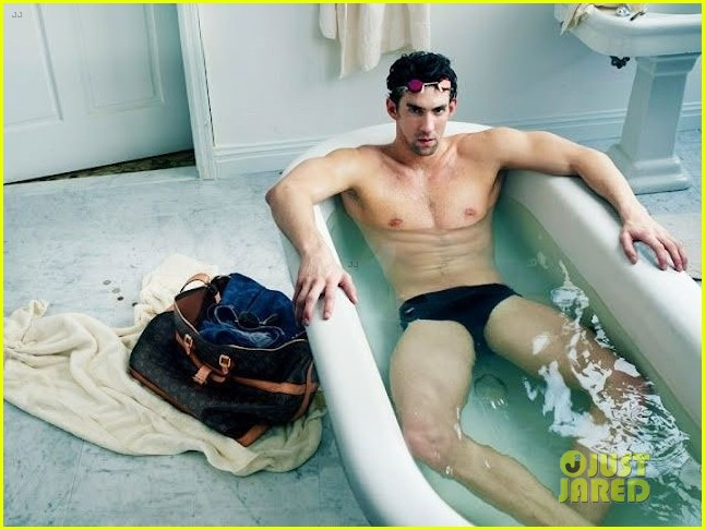 michael phelps speedo clad in tub for louis vuitton ad