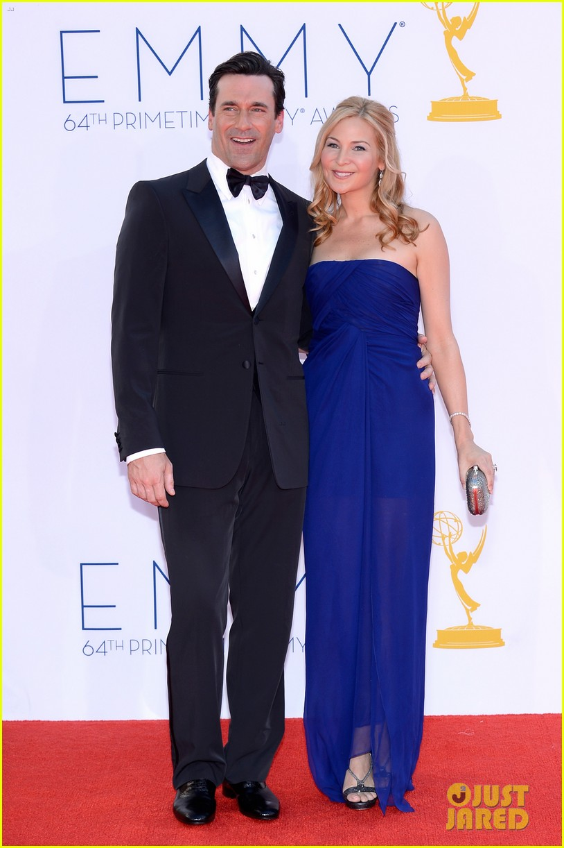 jon hamm jennifer westfeldt emmys 2012 red carpet 01