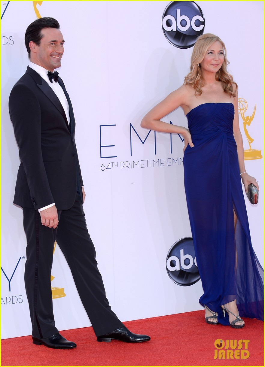 jon hamm jennifer westfeldt emmys 2012 red carpet 052727186
