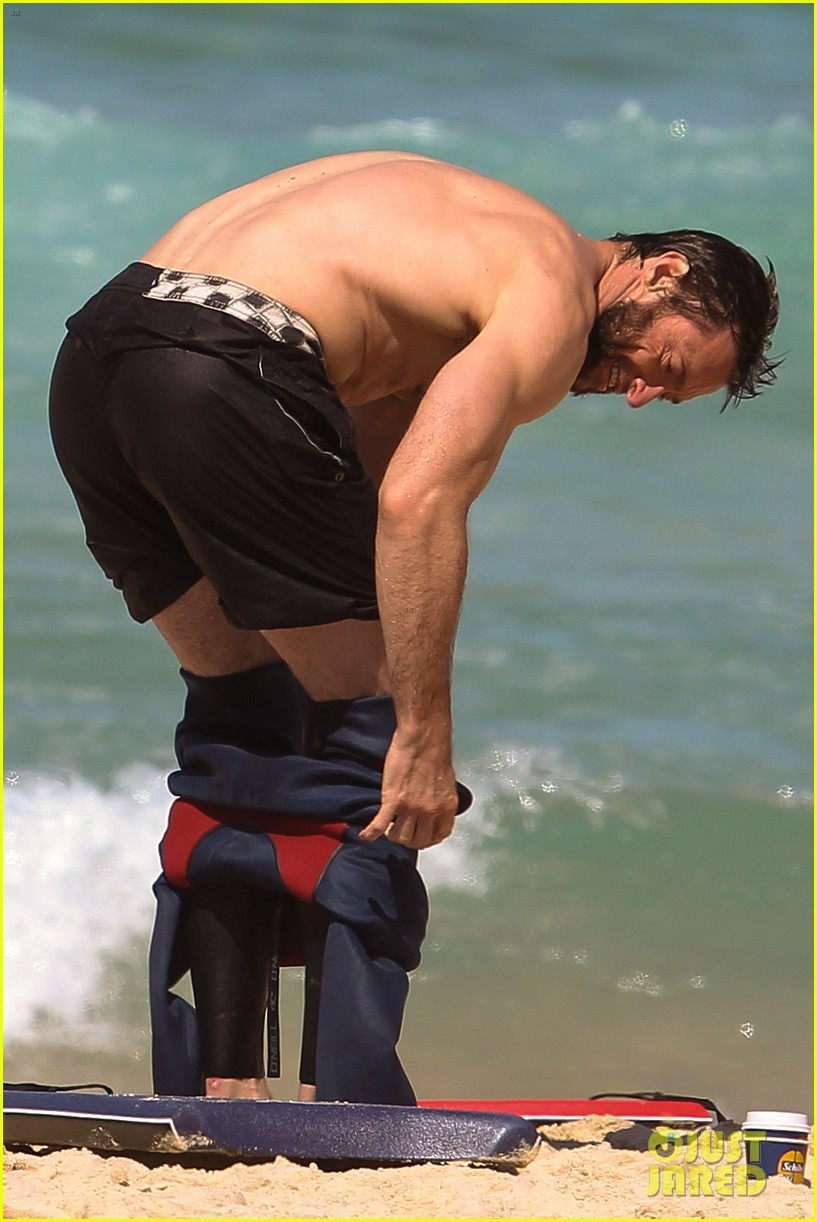hugh jackman shirtless at bondi beach 062726460