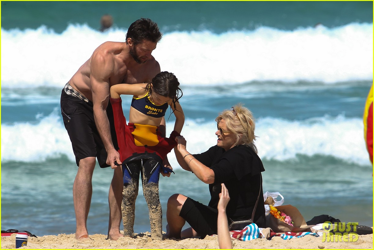 hugh jackman shirtless at bondi beach 092726463