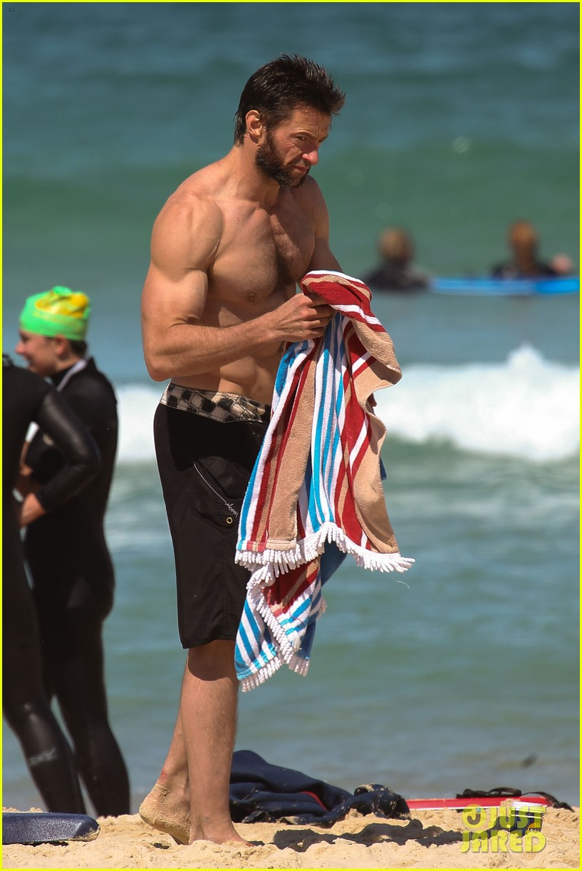 hugh jackman shirtless at bondi beach 132726467
