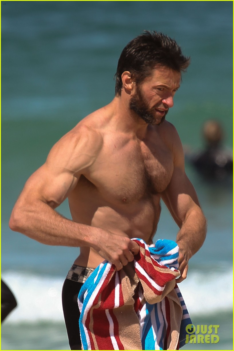 hugh jackman shirtless at bondi beach 142726468