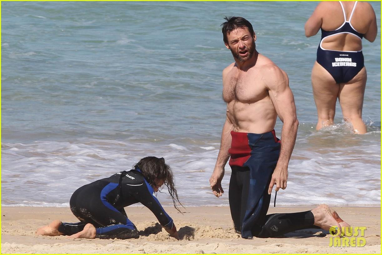 hugh jackman shirtless at bondi beach 402726494