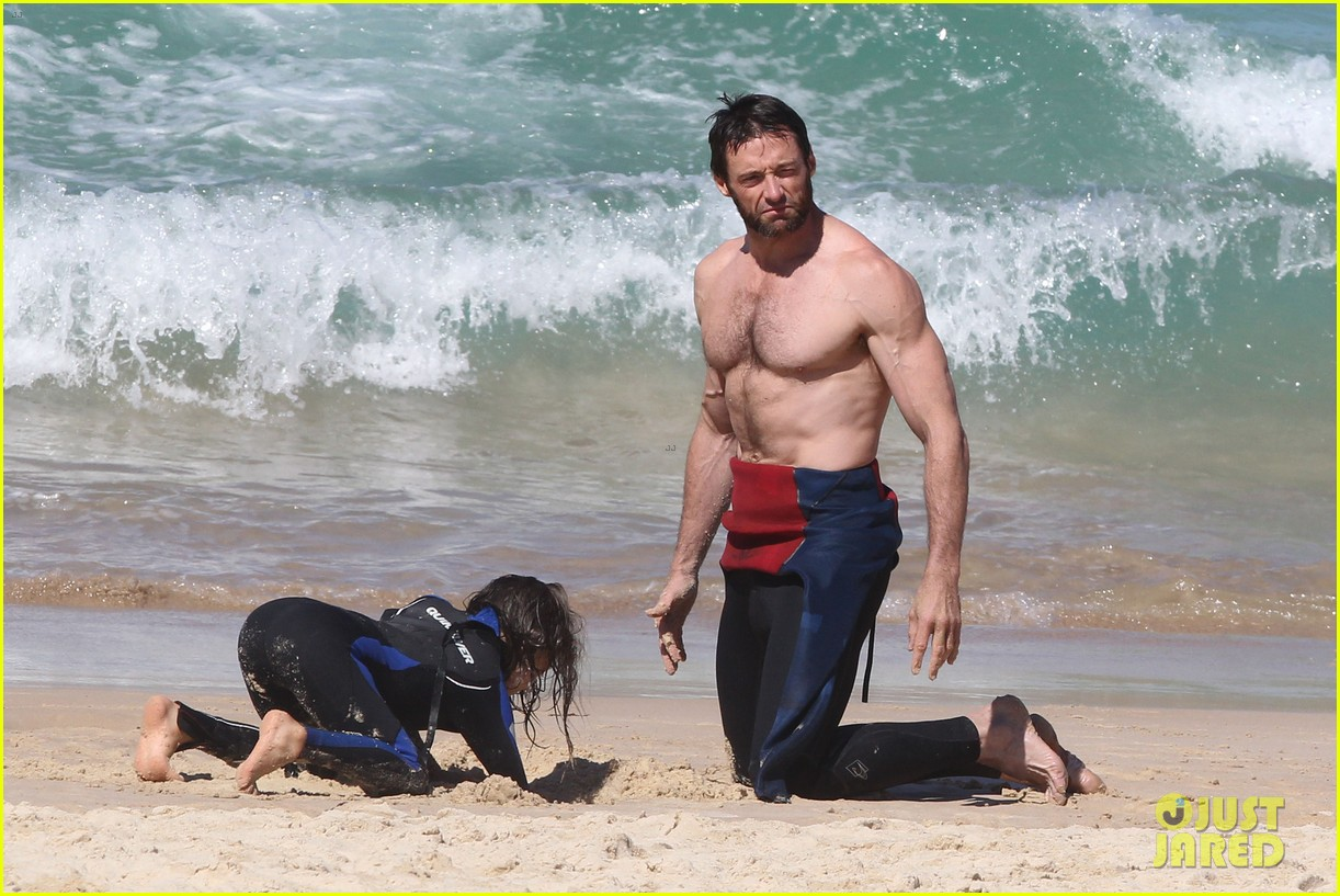 hugh jackman shirtless at bondi beach 412726495