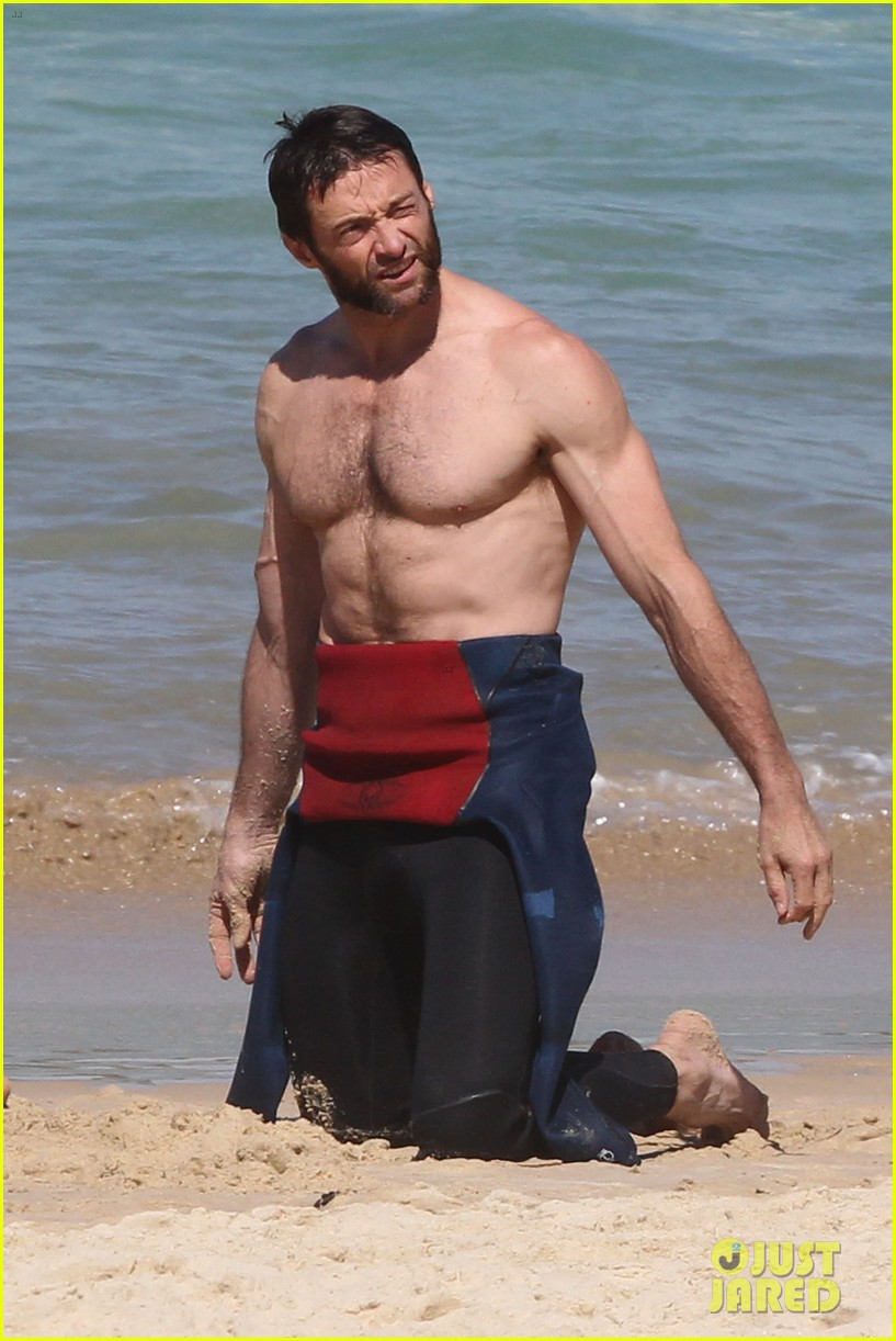 hugh jackman shirtless at bondi beach 442726498