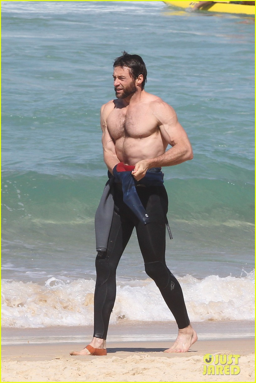 hugh jackman shirtless at bondi beach 452726499