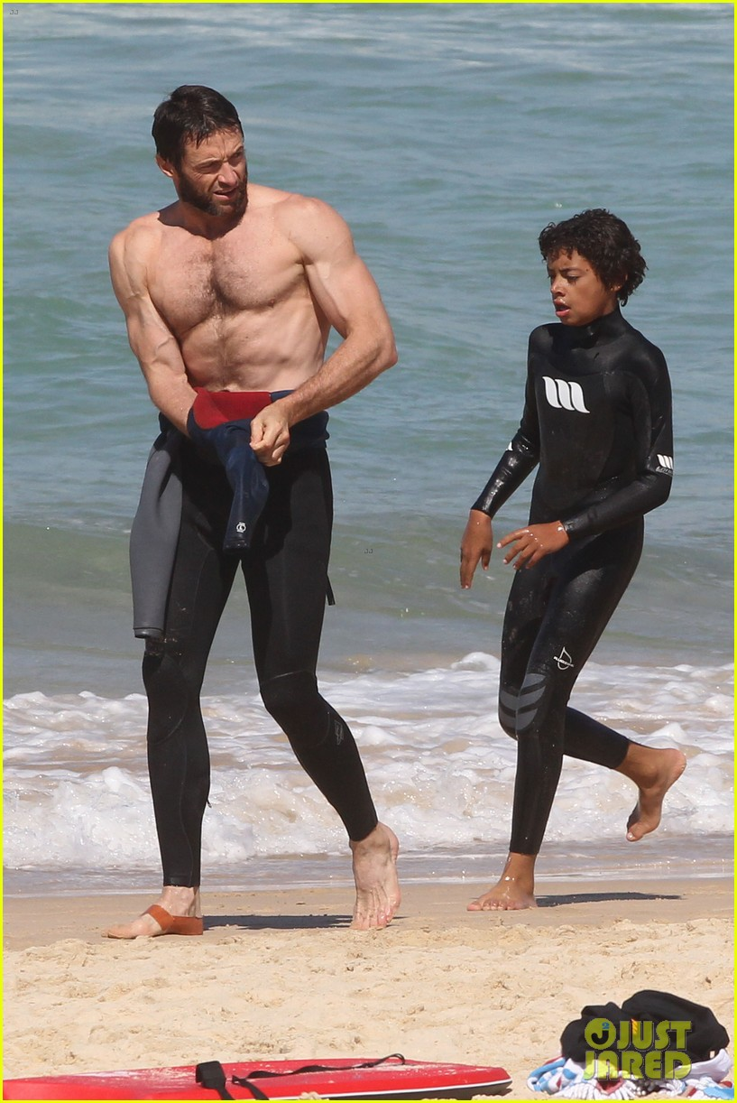 hugh jackman shirtless at bondi beach 472726501