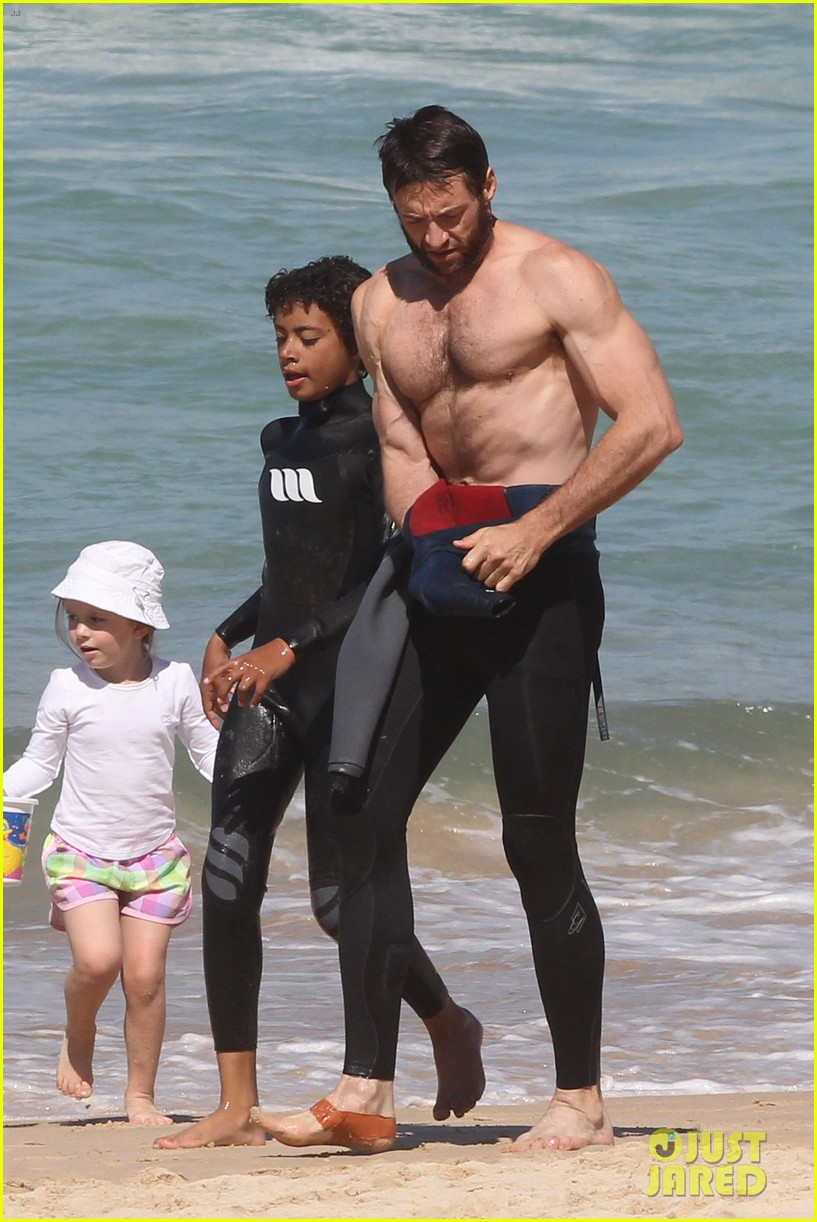 hugh jackman shirtless at bondi beach 482726502