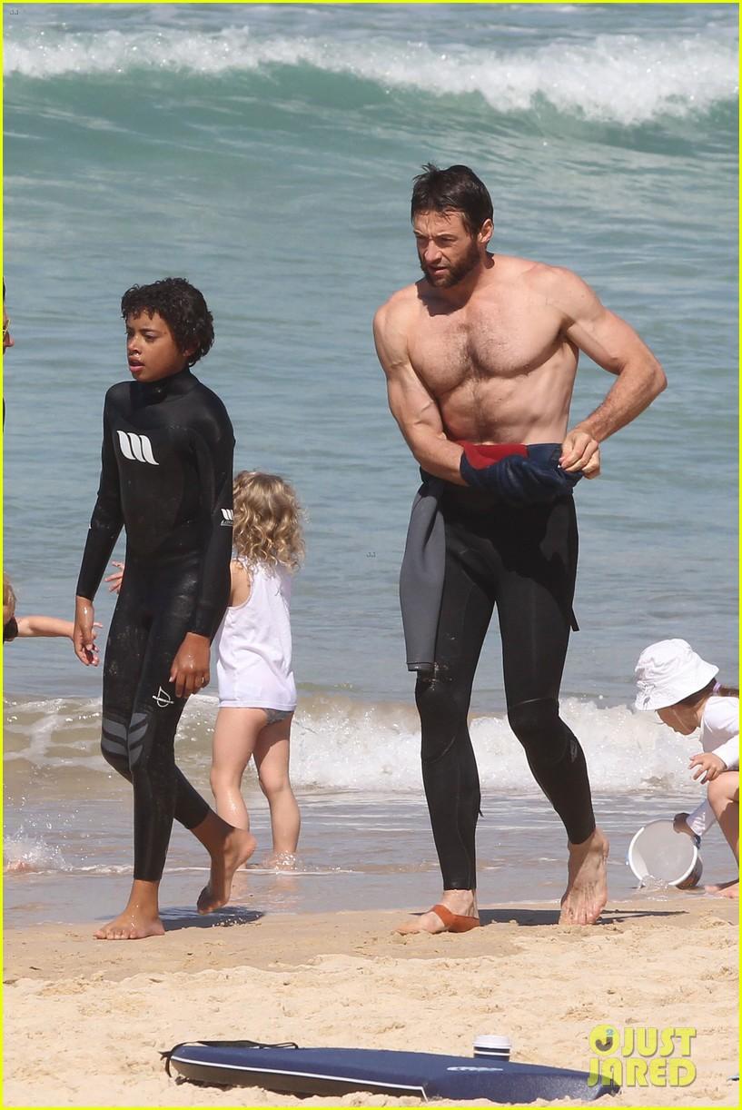 hugh jackman shirtless at bondi beach 492726503