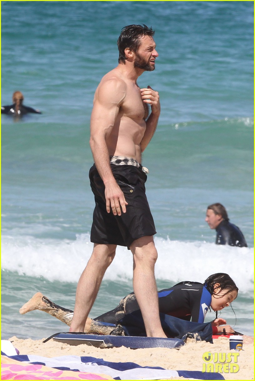 hugh jackman shirtless at bondi beach 512726505