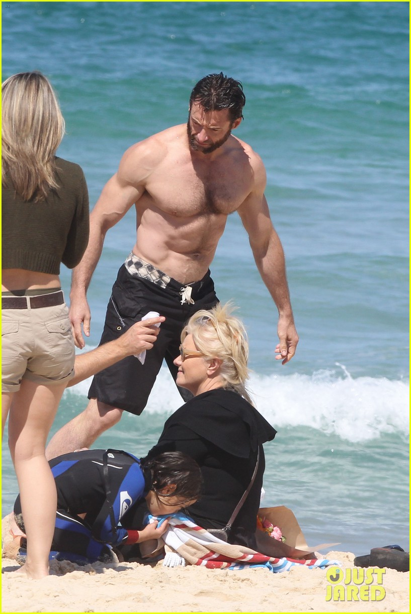 hugh jackman shirtless at bondi beach 522726506