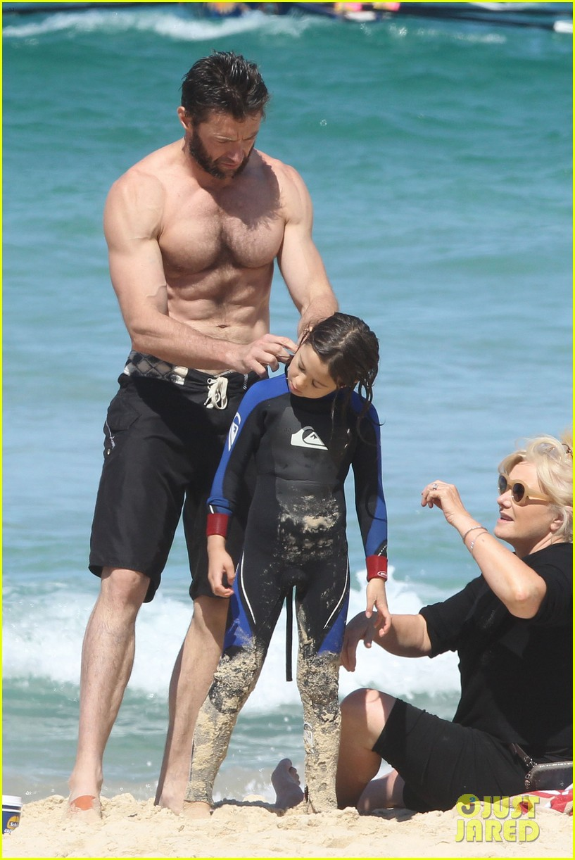 hugh jackman shirtless at bondi beach 532726507