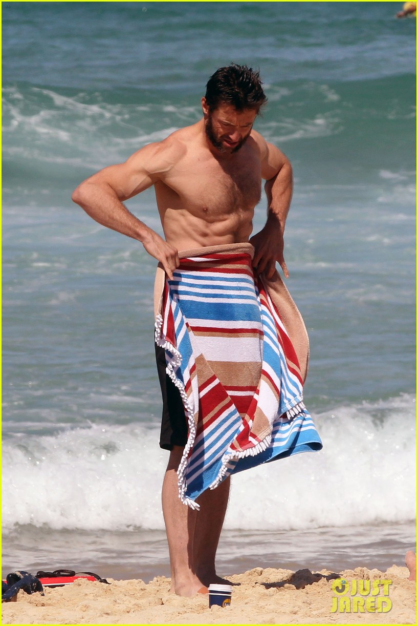 hugh jackman shirtless at bondi beach 572726511
