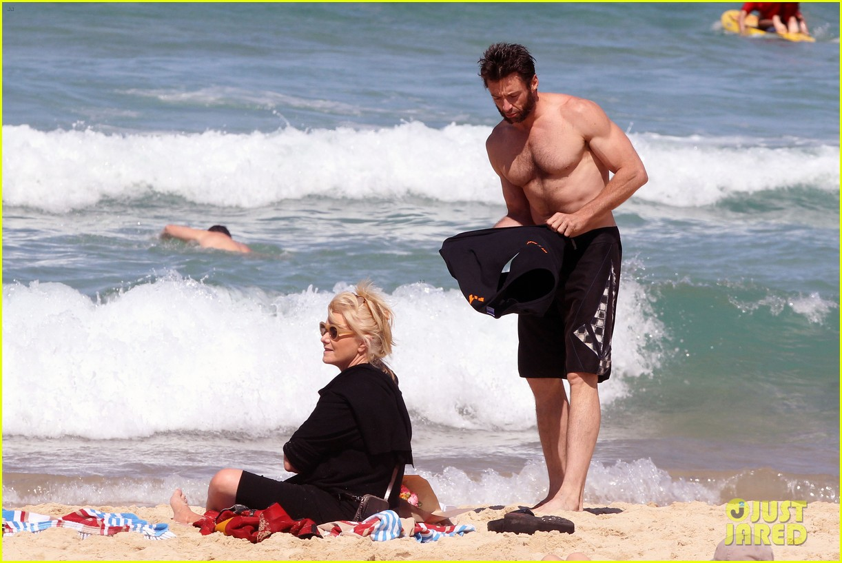 hugh jackman shirtless at bondi beach 59