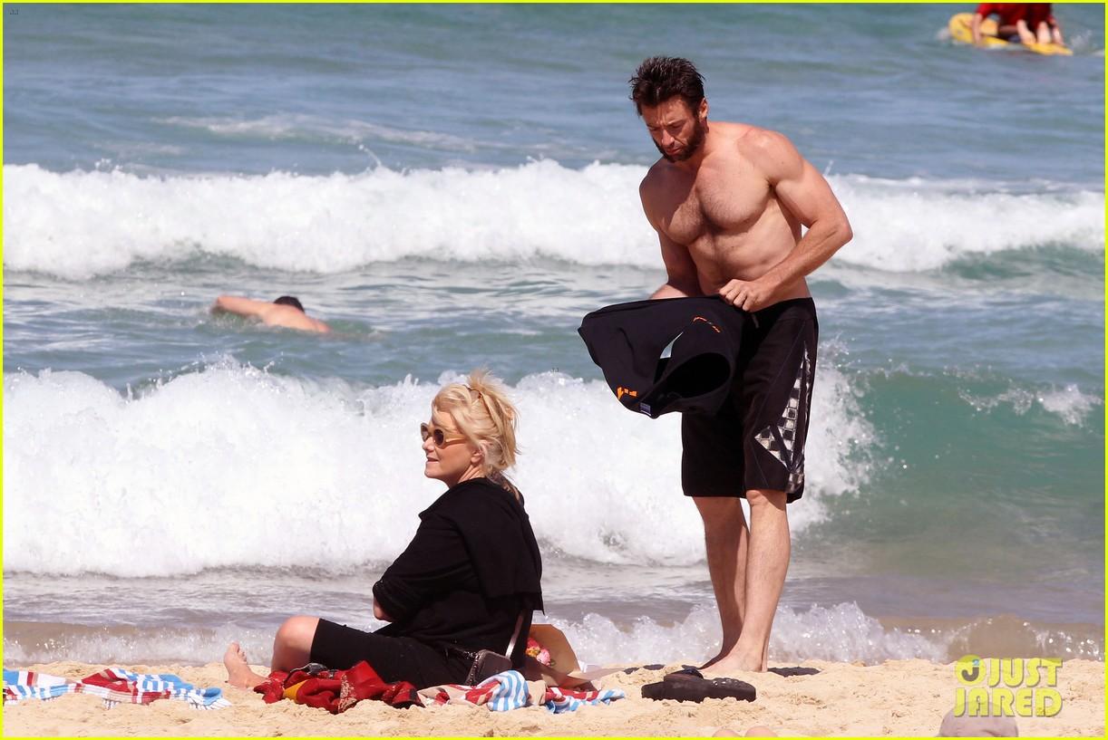 hugh jackman shirtless at bondi beach 592726513
