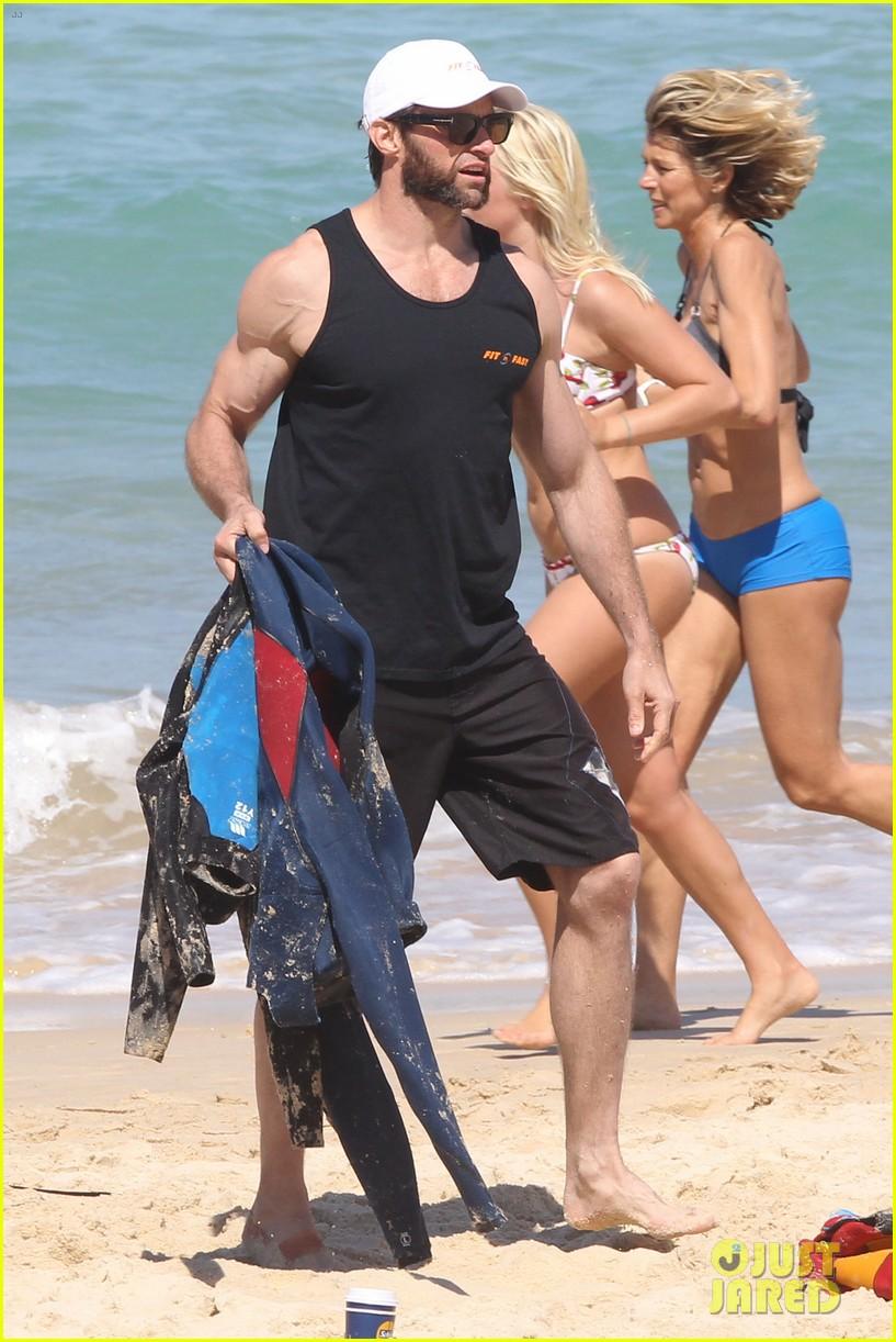 hugh jackman shirtless at bondi beach 642726518