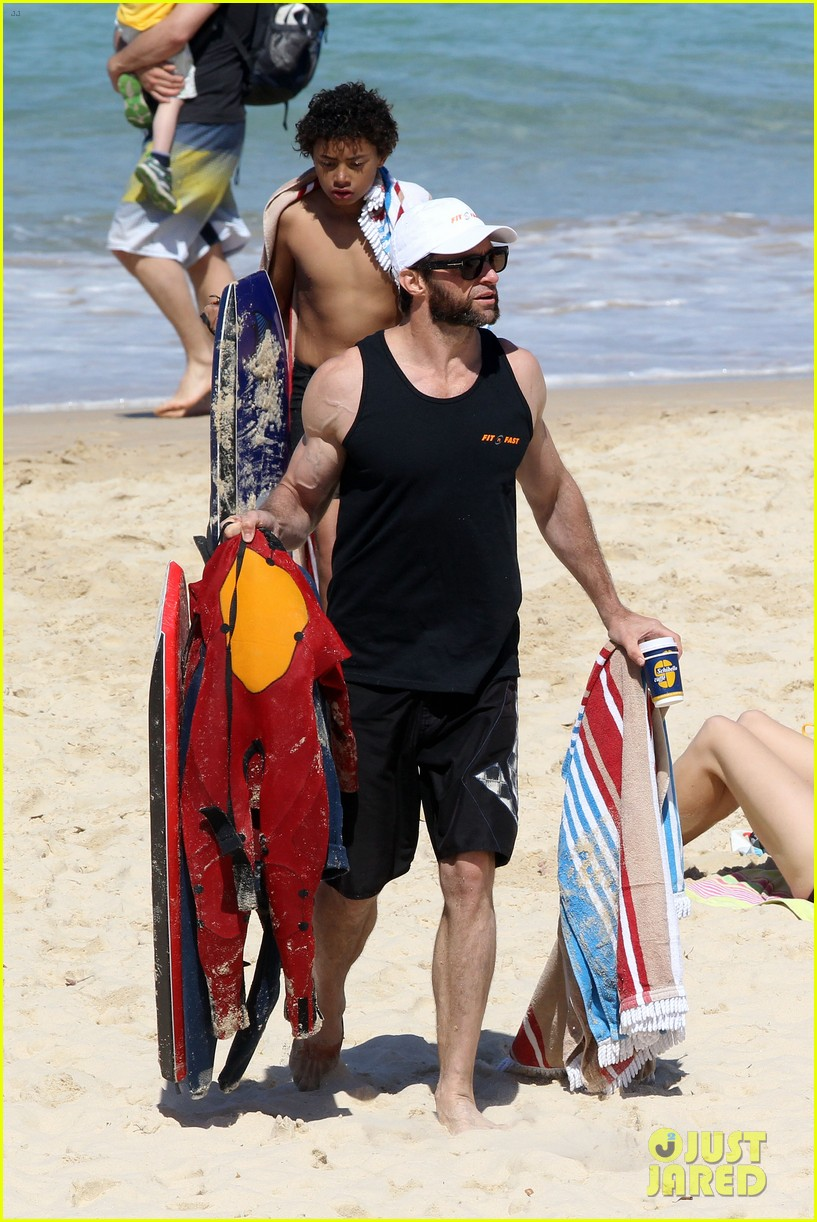 hugh jackman shirtless at bondi beach 662726520