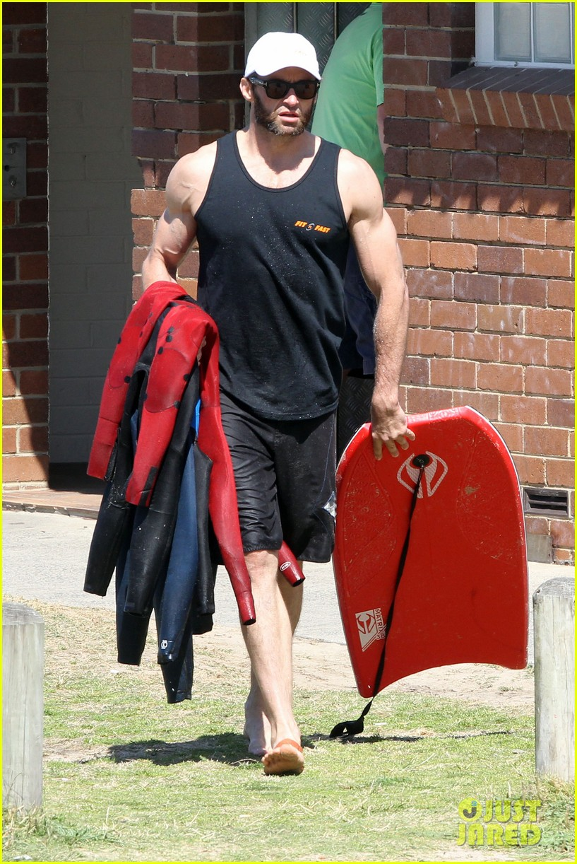 hugh jackman shirtless at bondi beach 672726521