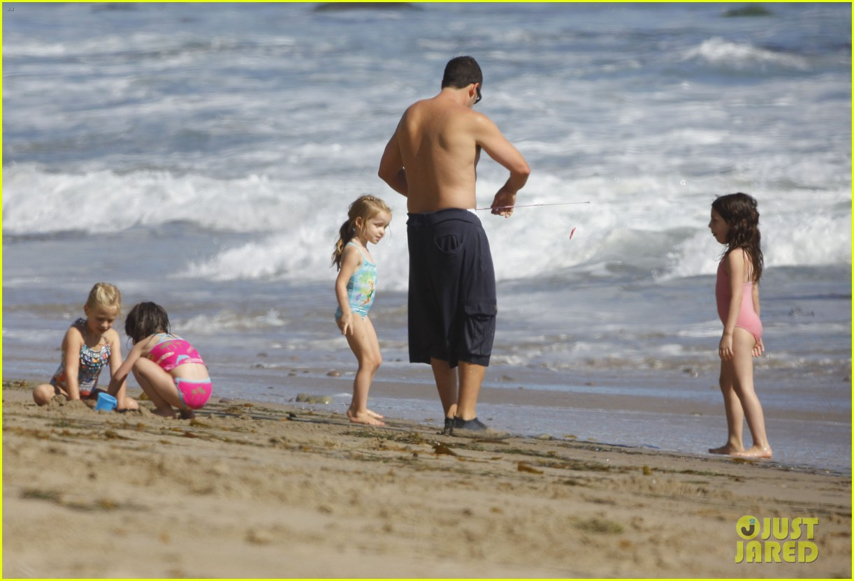 adam sandler shirtless beach time with sadie sunny 21