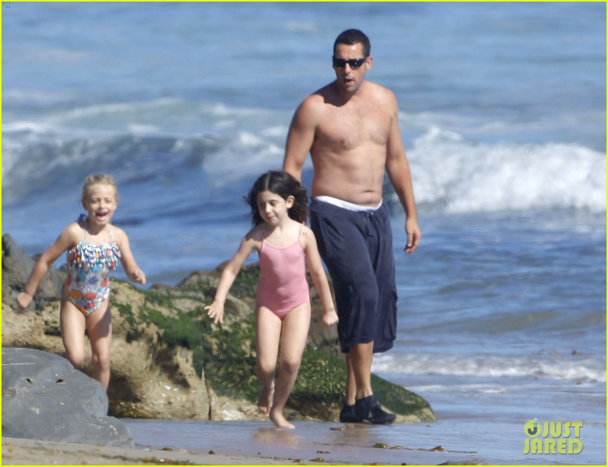 adam sandler shirtless beach time with sadie sunny 39