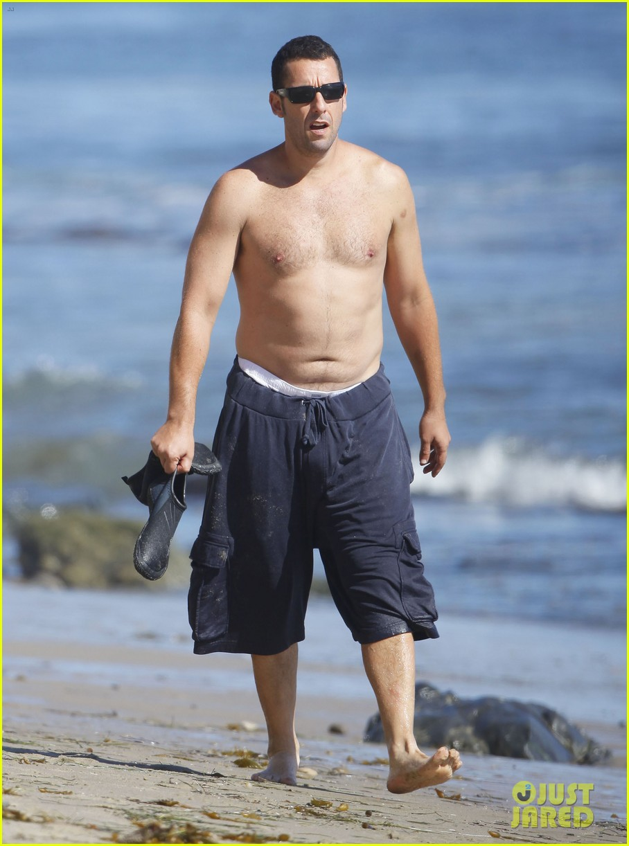 Adam Sandler: Shirtless Beach Time with Sadie & Sunny