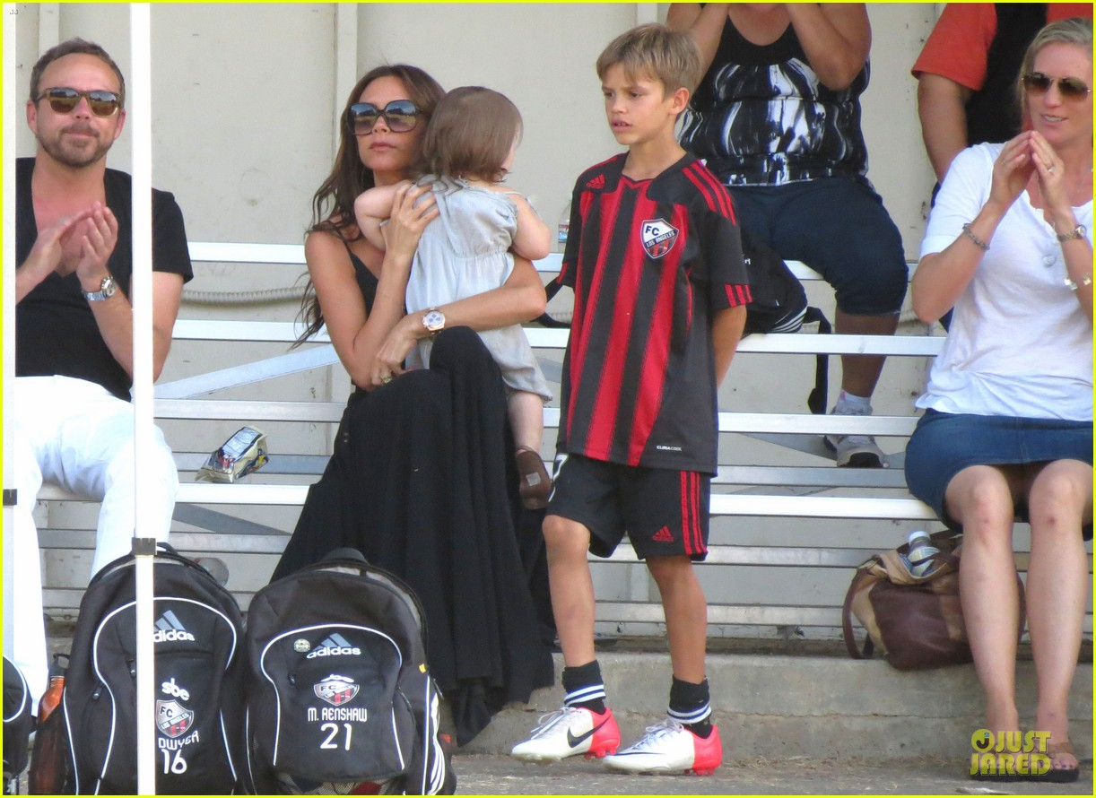 victoria beckham sons soccer game 412730835