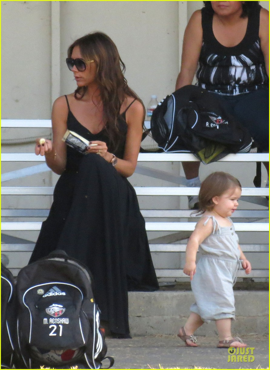 victoria beckham sons soccer game 482730842