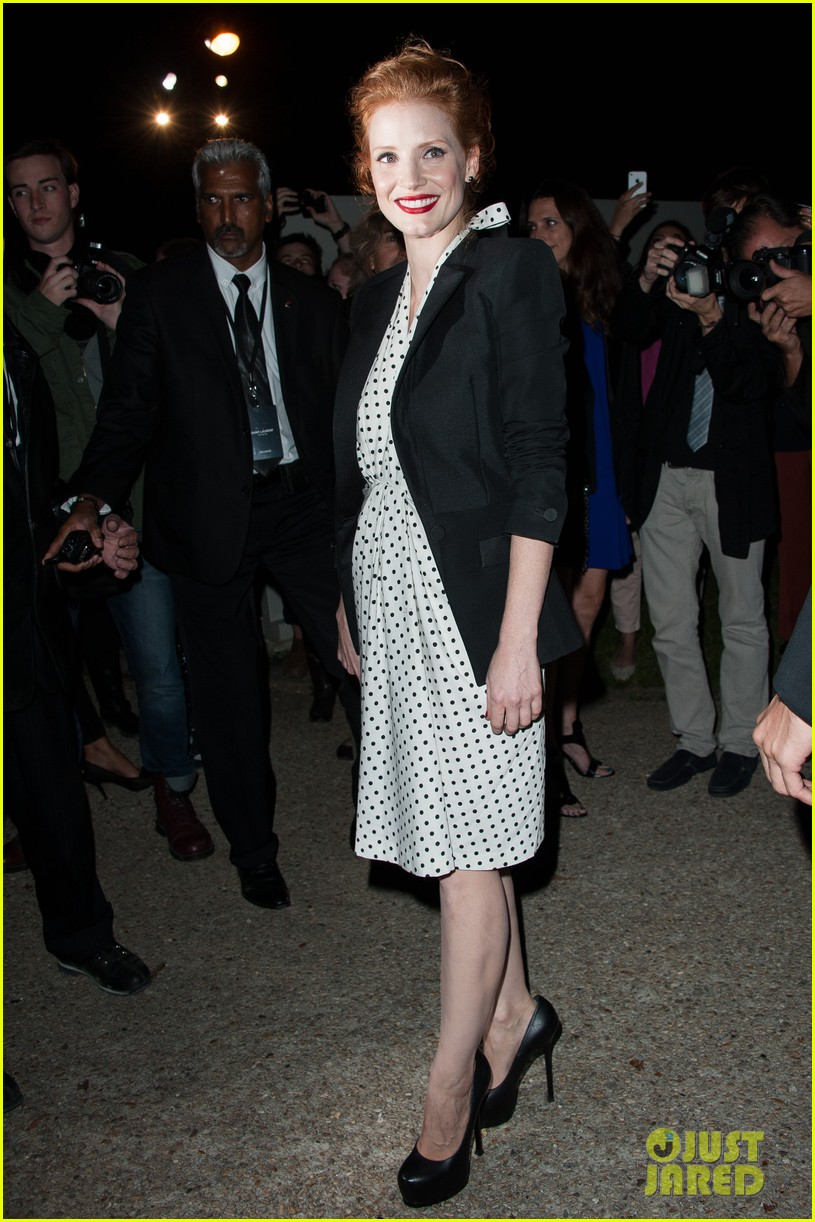 jessica chastain salma hayek yves st laurent fashion show 052731432