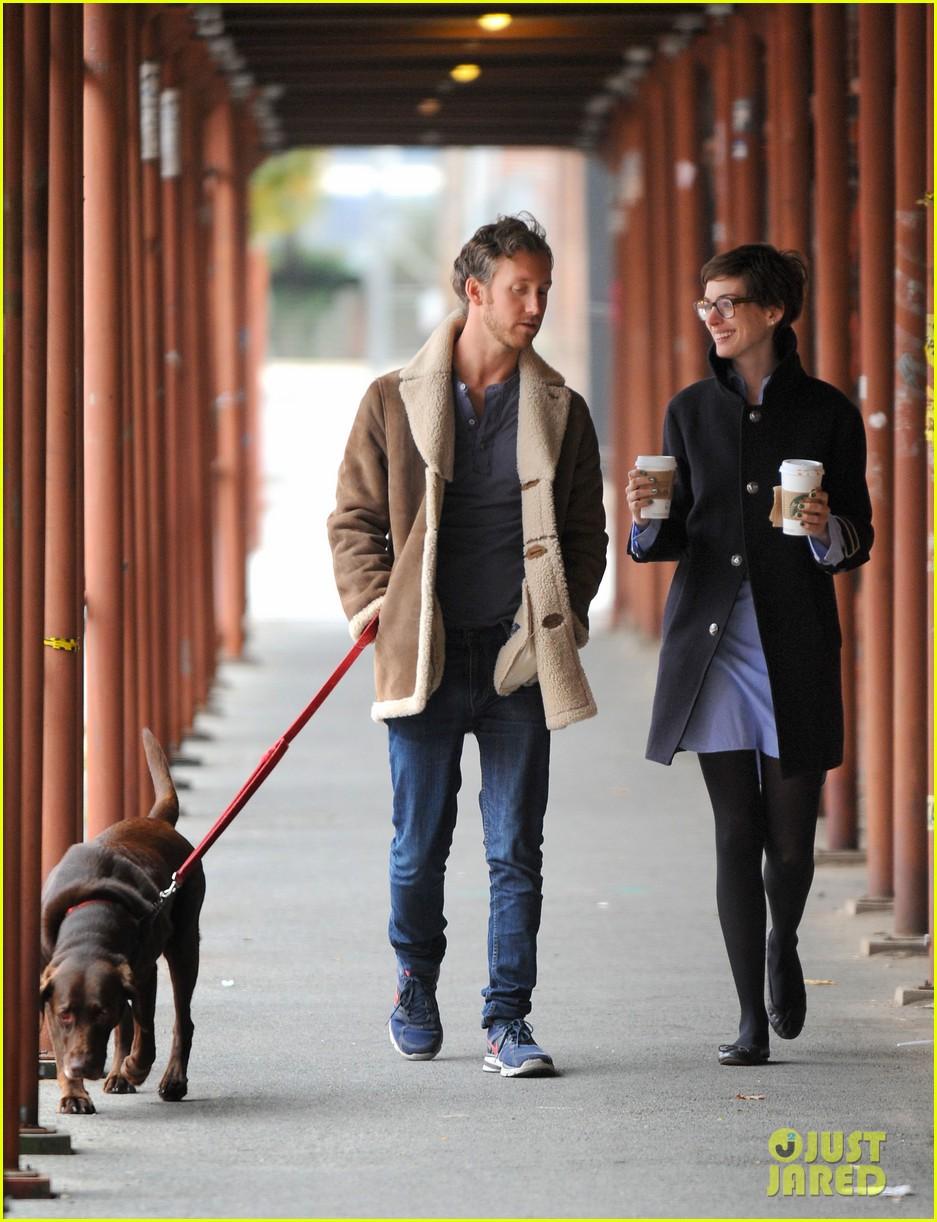 anne hathaway adam shulman coffee dog walk 232745080