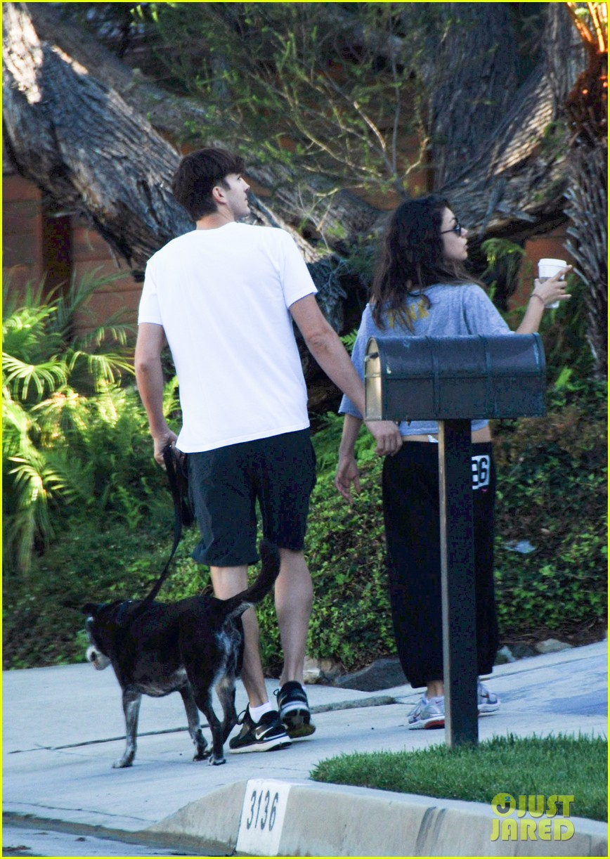 mila kunis ashton kutcher dog walking duo 082740993