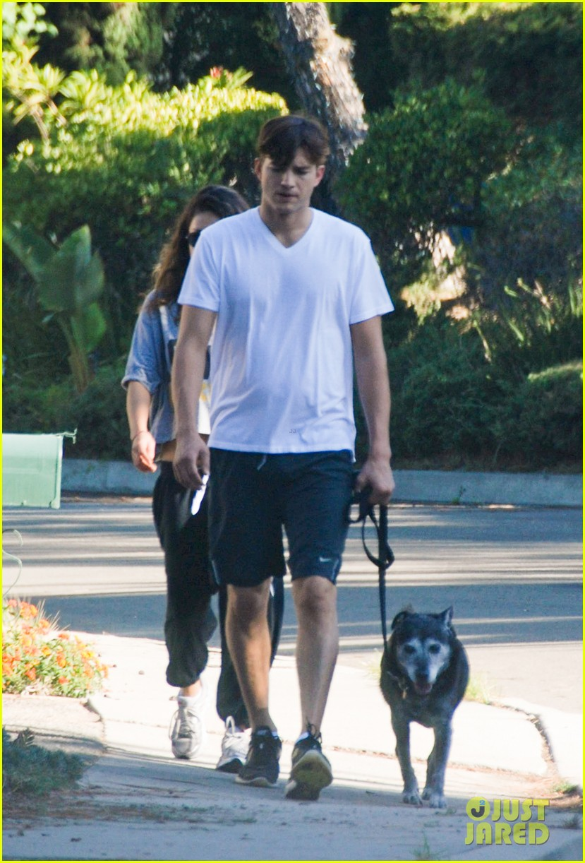 mila kunis ashton kutcher dog walking duo 142740999